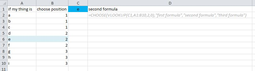 how to use choose formula in excel
